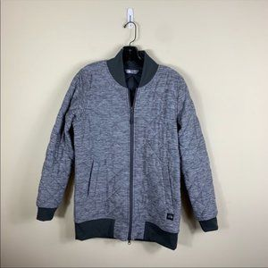 North face gray quilted full zip jacket